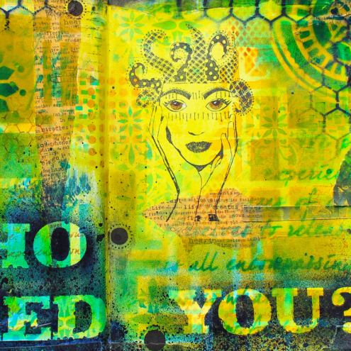 Who Asked You Art Journaling with stencils