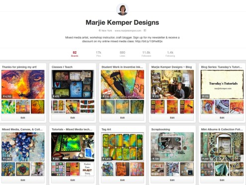 Find me on Pinterest! Marjie Kemper Designs - Mixed Media Art and Art Journaling