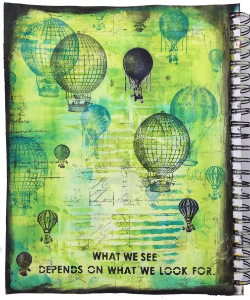 What We See mixed media art journal page - Marjie Kemper