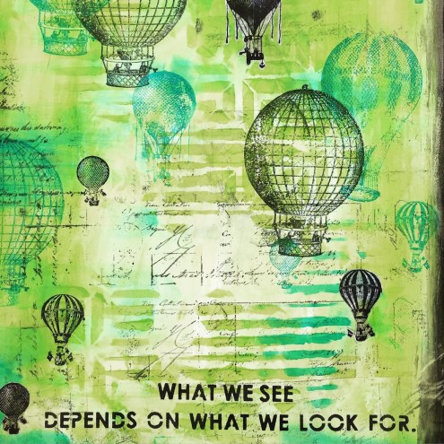 mixed media art journal page with Hot Air Balloons - Marjie Kemper
