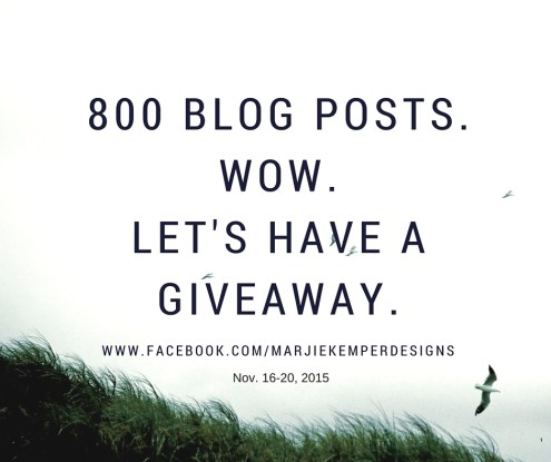Giveaway - Marjie Kemper Designs celebrates 800 Blog Posts