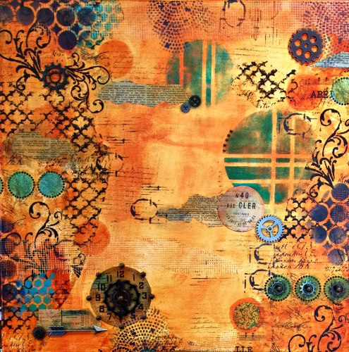 mixed media canvas collage (tutorial) by Marjie Kemper Feb16