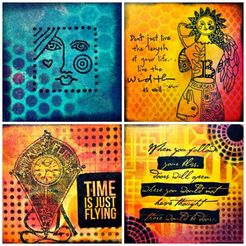 Marjie Kemper Designs #100daysproject - mixed media art journal techniques - Days 77-80