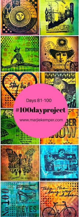 The #100dayproject ~ Part 5 - Art Journal Techniques on Small Squares - Marjie Kemper