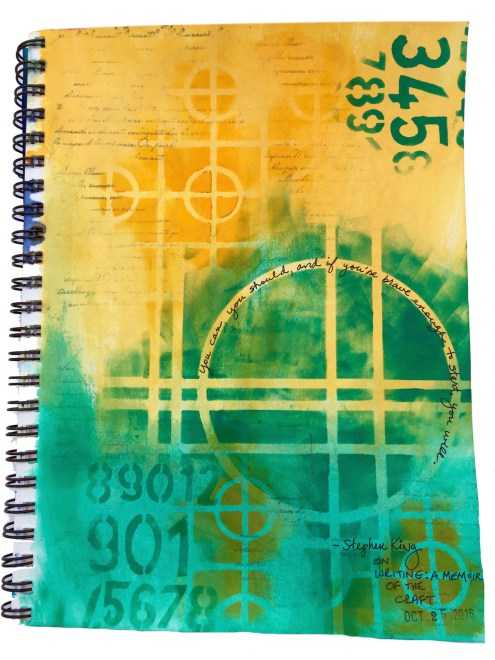 Art journaling series - Between the Lines - Stephen King quote (Marjie Kemper)