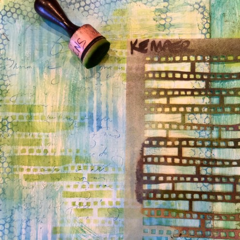 Art Journaling Series - Between the Lines - stenciling - Aisha Tyler Quote - Marjie Kemper