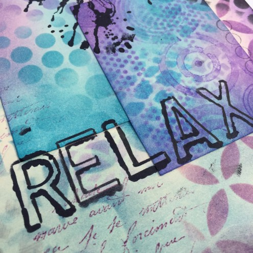 Stamps, stencil, paint and ink in art journal (Marjie Kemper)