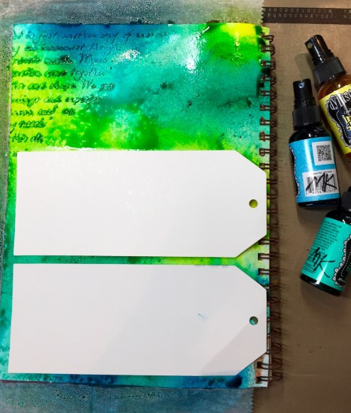 Dylusions tutorial - art journaling with Dylusions Ink Sprays - Marjie Kemper