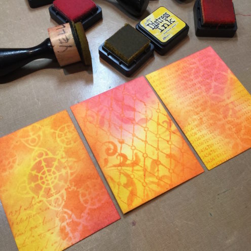 A trio of artist trading cards with Distress Inks (Marjie Kemper)
