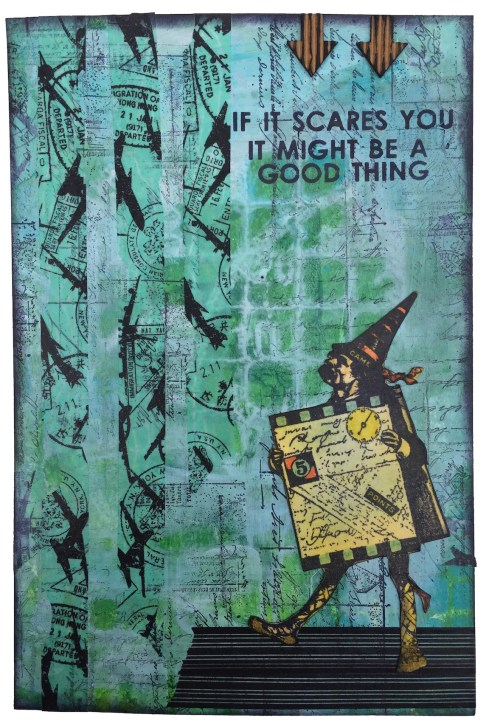 If It Scares You (art journal page with paint, ink and stencils)