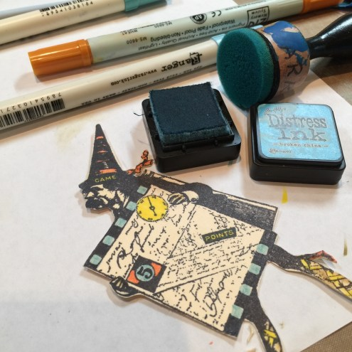 Stamp coloring with distress inks and markers