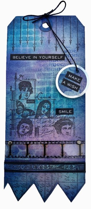 Tutorial with Distress Inks - Make a Wish tag (Marjie Kemper)