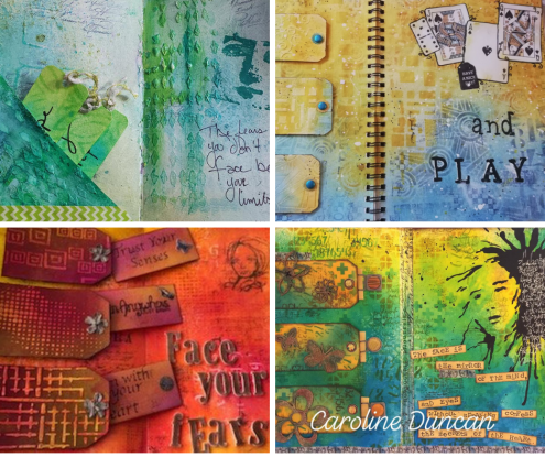 Art journal pages by Becky, Birgit, Carol, Caroline
