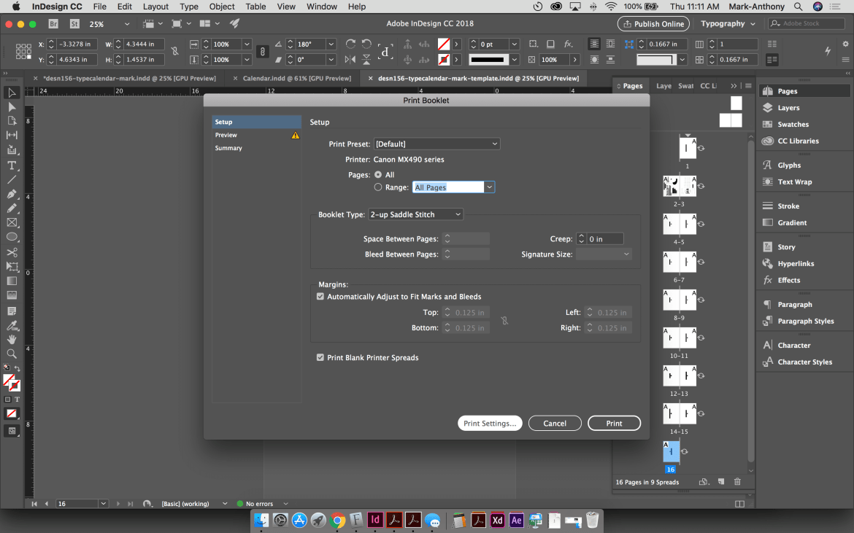 Saddle Stitch Calendar Print Setup InDesign