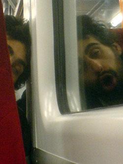 Chimpanzee on the train