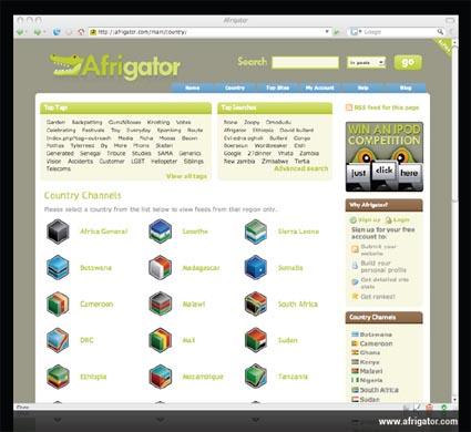 Afrigator Slide at the @media 2007 conference