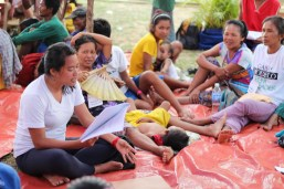 Mangyan women listen to the discussion during the workshop on self determination.