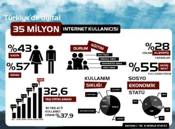 türkiye internet kullanımı infografik
