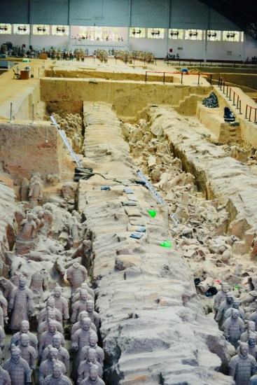 excavations of the pits containing the famed Chinese terracotta warriors