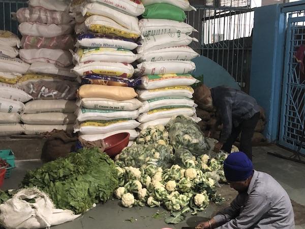 preparing vegetables at Sis Ganj Shaib Gurudwara - langar- Sikh temple - Old Delhi