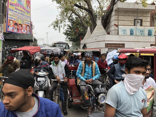 Chandni Chowk - Old Delhi - mid day traffic jam - traffic in India- Mark and Chuck's Adventures