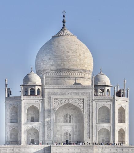 Mark and Chuck's Adventures - India trip - Taj Mahal - close up details of Taj Mahal dome - Agra