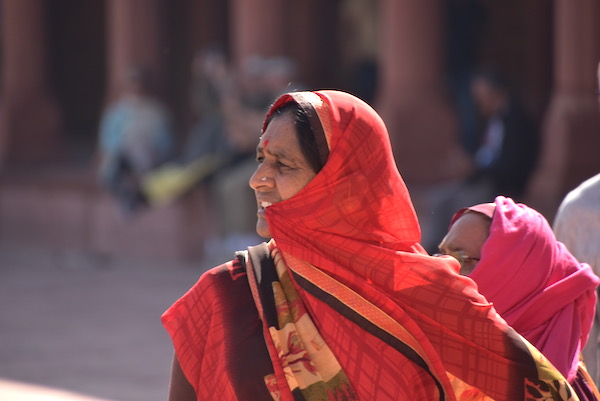 Mark and Chuck's Adventures - India trip - Indian Woman - Indian woman in bright red sari - Taj Mahal - Agra