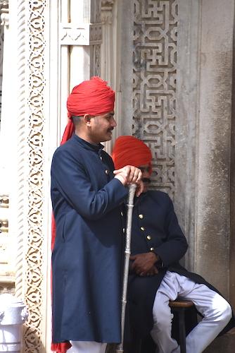 people of India - guards at Jaipur City Palace - Rajasthan