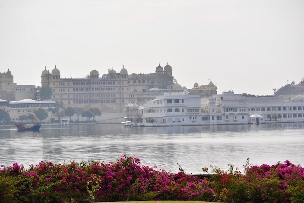 looking across Lake Pichola toward the City Palace in Udaipur, Rajasthan, India