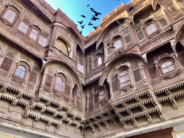 red sandstone walls of the Mehrangarh Fort in Jodhpur India