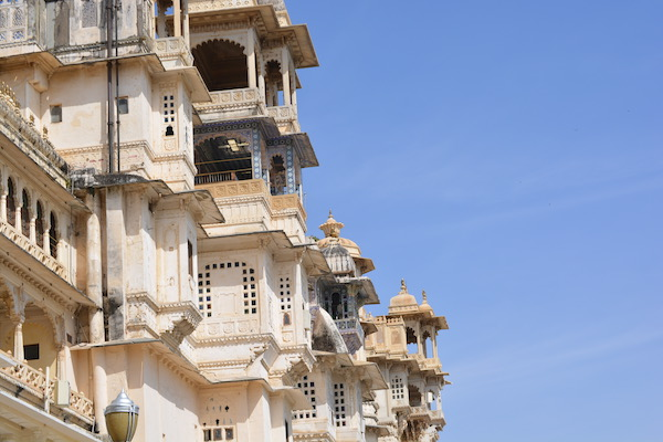 The marble and granite facade of the City palace in Udaipur