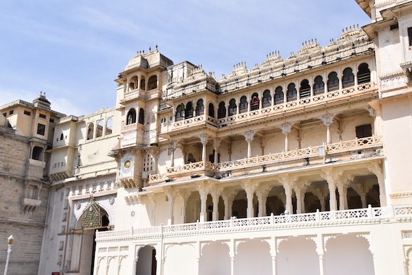 looking up toward the upper floors of the Udaipur City Palace