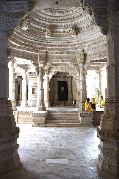 Main interior of the Ranakpur Jaine Temple in Rajasthan India