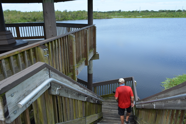 man walking down the steps of the two story observation tower at Sawgrass Lake Park