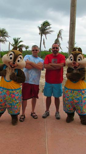 Mark and Chuck with Disney characters Chip and Dale On Castaway Cay
