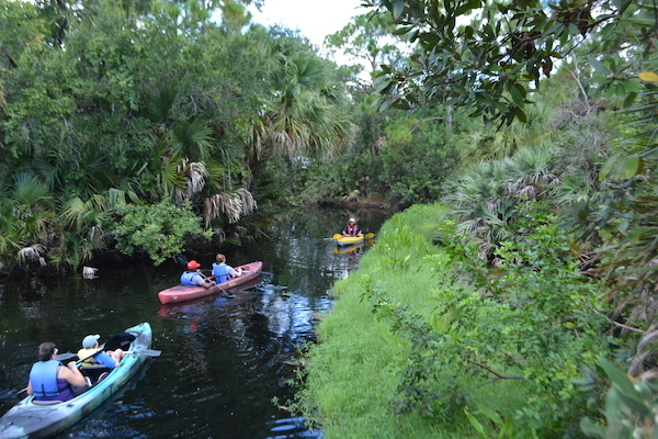 visitors to the Brevard Zoo kayaking