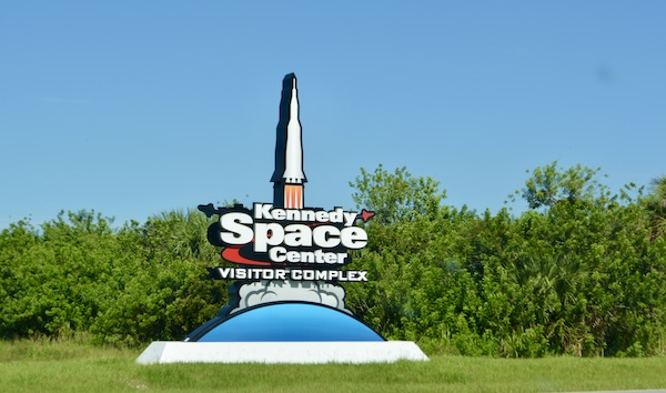 entrance to the Kennedy Space Center Visitors Complex in Melbourne Florida