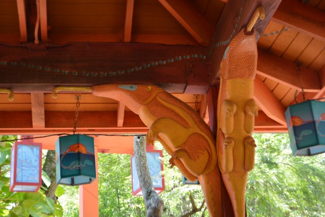 dining pavilions themed predator and prey at Flame Tree Barbecue
