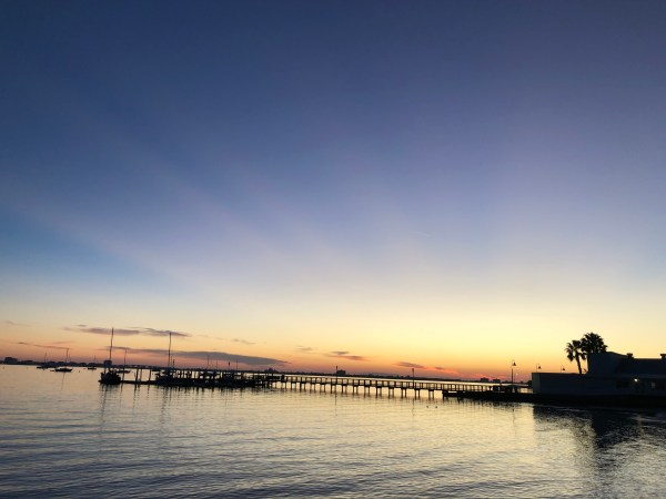 sunset on the Boca Ciega Bay on the Gulfport Florida waterfront