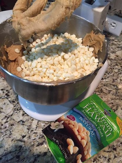 A batch of our cookie recipe substituting white chocolate and macadamia nuts
