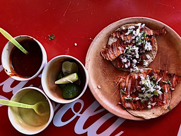 tacos al pastor in a local Merida Mexico street market