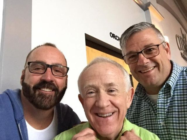 Mark and Chuck with Leslie Jordan at a fundraiser for funeral expenses for one of the victims of the PULSE massacre