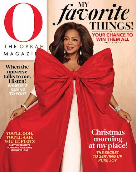 """cover of The Oprah Magazine showcasing The Cake Bake Shop's Gluten-Free Mint Chocolate Chip Cake in the """"O"""" List of Oprah's Favorite Things"""