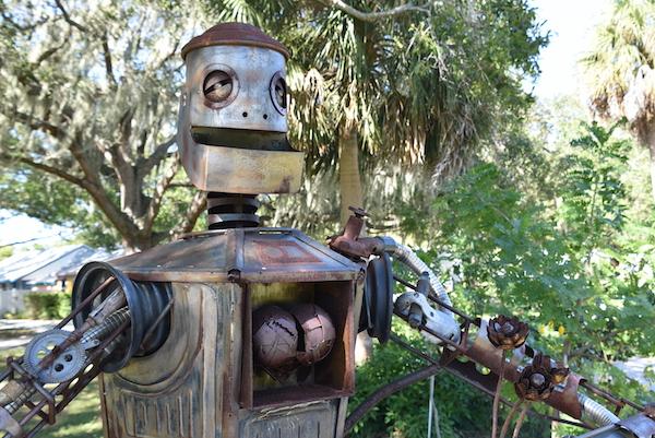 Big Dumb Heart Metal sculpture on the Clymer Art Walk in Gulfport Florida