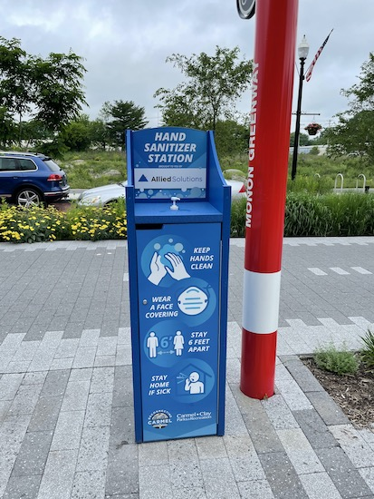 Hand sanitizing stations along the Monon Trail