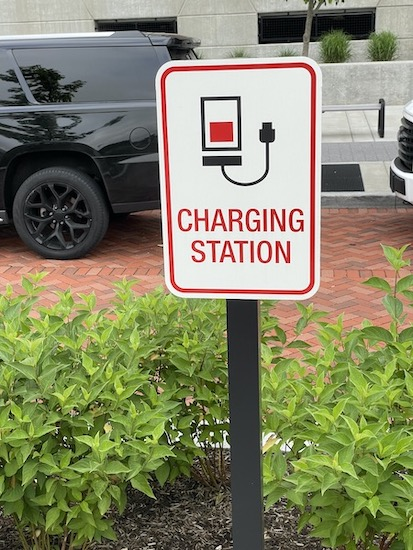 charging station sign along the trail