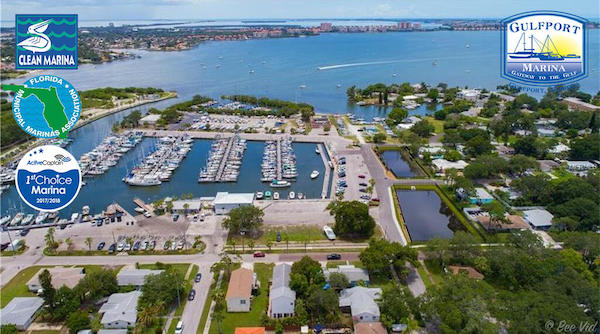 arial view of the Gulfport Florida marina from the marina website