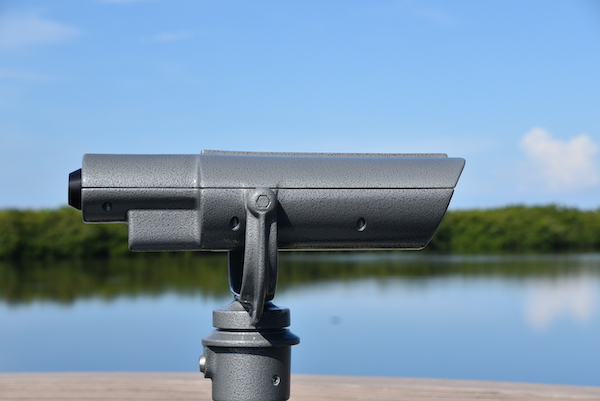 built-in binoculars at the wildlife refuge observation tower