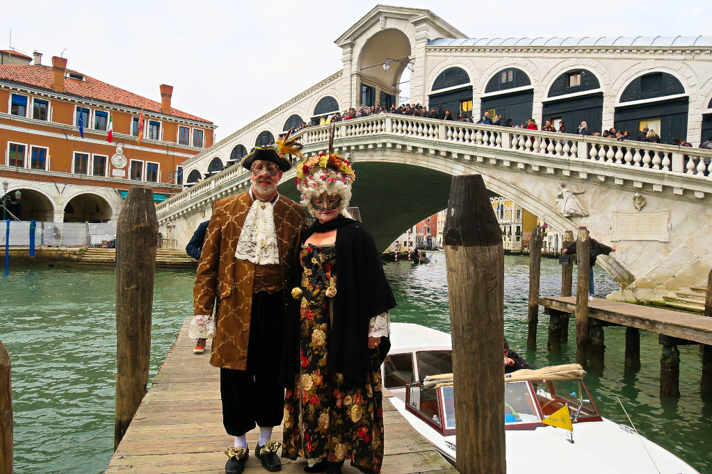 In front of the Rialto Bridge