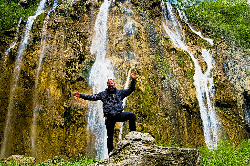 Me at the largest of the Falls in Plitvice